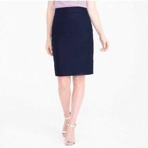 J crew navy blue pleated pencil skirt
